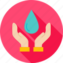 drib, drop, ecology, hand, nature, safe, water icon