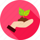 cultivation, garden, gardening, hand, leaf, nature, plant icon