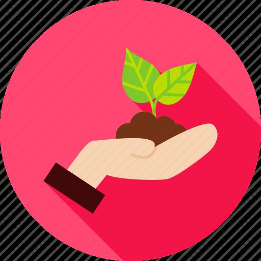 cultivation, garden, gardening, hand, leaf, nature, plant icon