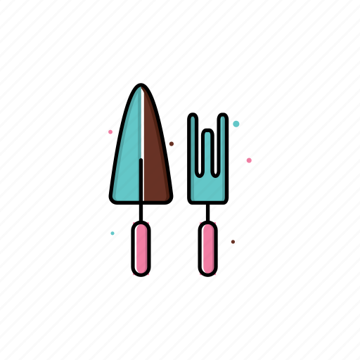 decoration, fork, gardening, graphic, shovel, spring, tools icon