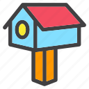 birds, house, post, spring, wood icon