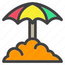 hot, rainbow, spring, umbrella, weather icon
