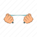 cartoon, crime, hand, man, rope, tied, victim icon