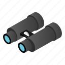 binocular, instrument, isometric, military, vision, watch, zoom icon