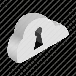 cloud, information, isometric, key, keyhole, network, safe icon