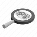 criminal, detective, exploration, fingerprint, glass, isometric, magnifying icon
