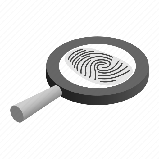 Criminal, detective, exploration, fingerprint, glass, isometric, magnifying icon - Download on Iconfinder