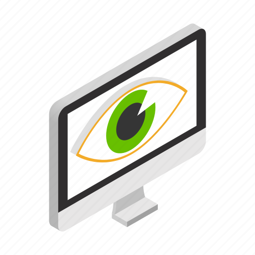 eye, isometric, lcd, led, monitor, screen, watch icon