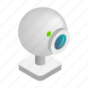 cam, camera, illustration, isometric, technology, video, web icon