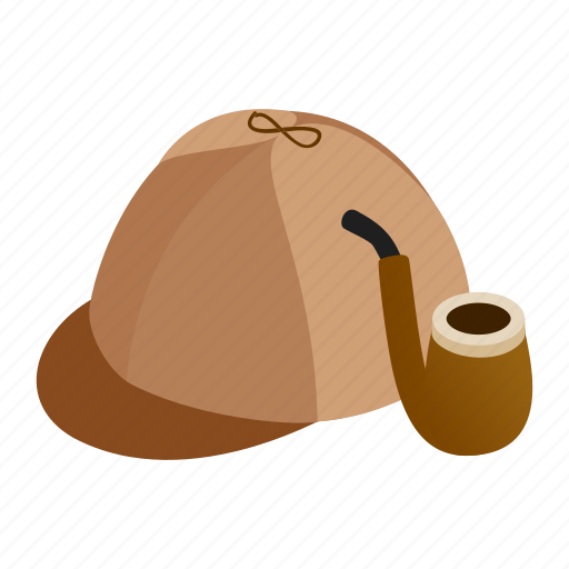 cap, deerstalker, hat, isometric, pipe, sherlock, smoking icon