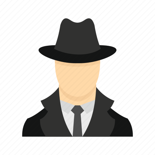 agent, coat, hat, inspector, person, secret, spy icon