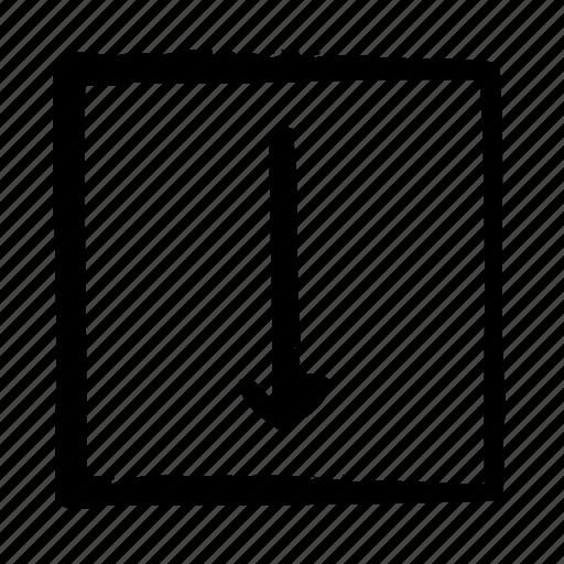 arrow, arrows, direction, down, move, thin icon