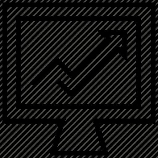 analytics, arrow, ecommerce, monitor, online, shopping, statistics icon