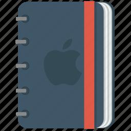 apple, blue, book, copy, copybook, note, notebook, pencil, squarico icon