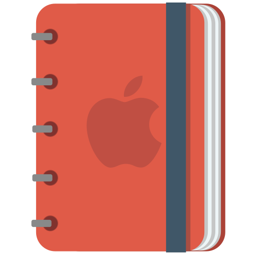 apple, book, copybook, notebook, pencil, red, squarico icon