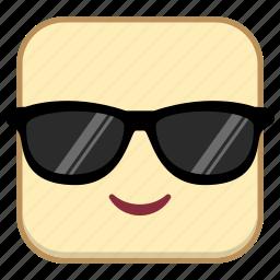 cool, emoji, emotion, expression, face icon