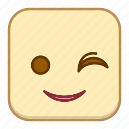 emoji, emotion, expression, face, wink icon