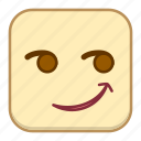 emoji, emotion, expression, face, smirk icon