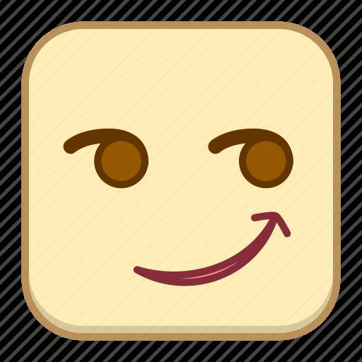emoji, emotion, expression, face, smirk icon