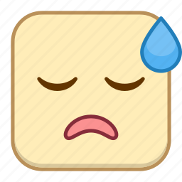 emoji, emotion, expression, face, sigh icon
