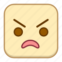 angry, emoji, emotion, expression, face icon