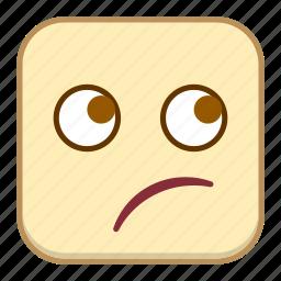 emoji, emotion, expression, face, thinking icon