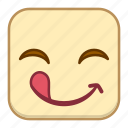 emoji, emotion, expression, face, licking, smile