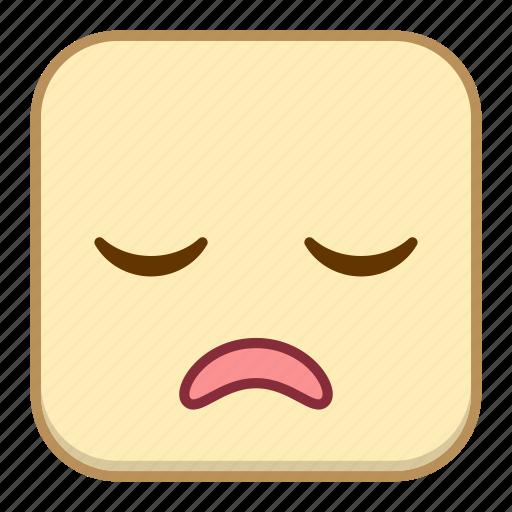 emoji, emotion, expression, face, sigh icon