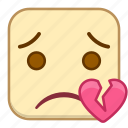 broken, emoji, emotion, expression, face, heart icon