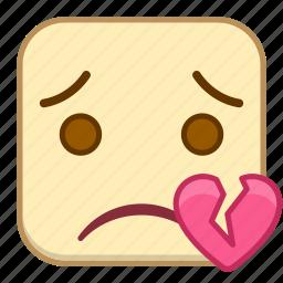 broken, emoji, emotion, expression, face, heart icon