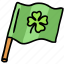 clover, flag, irish, luck, patrick, shamrock, wave icon