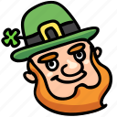 beard, clover, face, irish, leprechaun, luck, patrick icon