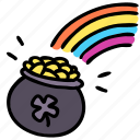 cash, gold, irish, leprechaun, money, pot, rainbow icon
