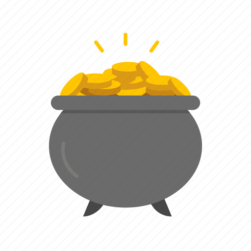 celebration, coin, feast, gold, pot of coin, pot of gold, treasure icon