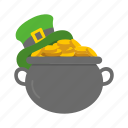celebration, coin, feast, gold, leprechaun flat, pot of gold icon