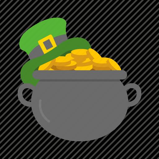 celebration, coin, feast, gold, leprechaun flat, pot of gold icon