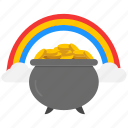 coin, feast, gold, pot of coin, pot of gold, rainbow icon