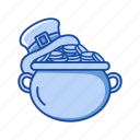 coins, feast, gold, irish pot, leprechaun hat, pot icon