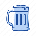 beer, beverage, drink, frothy beer, glass, liquor, mug icon
