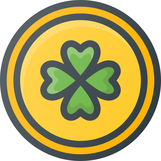 clover, coin, day, gold, patrick, st icon