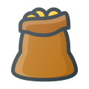 bag, coins, gold, treasure icon