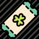 clover, shamrock, st. patrick's day, ticket icon