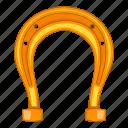 cartoon, gold, horseshoe, object icon