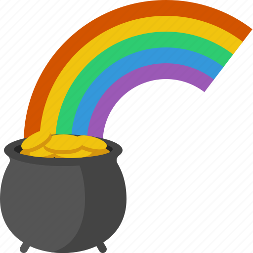 gold, patrick, pot, pot of gold, rainbow, saint, stpatricksday icon