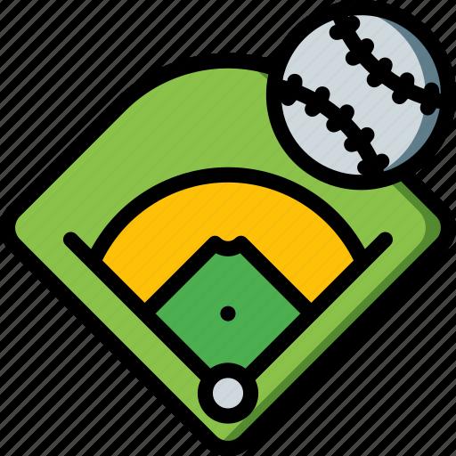 ball, baseball, field, sport, stadium icon