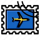 airplane, grunge, rectangle, stamp icon
