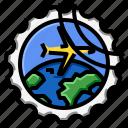 airplane, grunge, stamp, travel icon