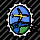 airplane, grunge, oval, stamp, world icon