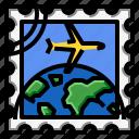 airplane, grunge, square, stamp, world icon