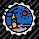 beach, stamp, summer, travel icon